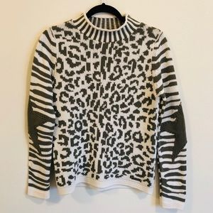 JET SET Leopard Star Patch Ski Sweater